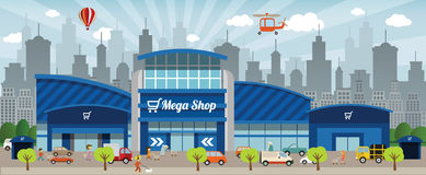 Shopping in the city. Vector illustration of blue shopping center (people, cars Royalty Free Stock Image