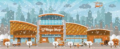 Shopping in the city (Winter) Royalty Free Stock Photo