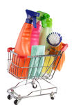 Shopping cleaning supplies Royalty Free Stock Photos
