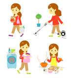 Shopping, cleaning, washing, cooking Royalty Free Stock Photos