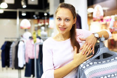 Shopping in clothes store Stock Photo