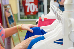 Shopping in clothes store Royalty Free Stock Photo