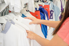 Shopping in clothes store Stock Image