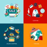 Shopping clothing flat icons set Stock Photos
