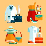 Shopping Clothing Icons Set Royalty Free Stock Photography