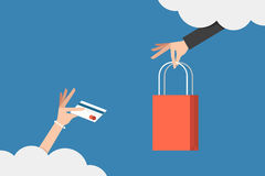 Shopping on cloud Stock Photo