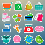 Shopping color icons set Royalty Free Stock Images