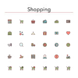 Shopping Colored Line Icons. Shopping and sale colored line Icons set. Vector illustration Royalty Free Stock Photo