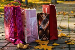 Shopping. Colorful paper bags in a park, among yellow leaves. Side view Royalty Free Stock Photo
