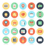 Shopping and Commerce. Abstract vector set of colorful flat shopping and commerce icons. Creative concepts and design elements for mobile and web applications Stock Photo