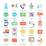 Shopping and Commerce. Abstract vector set of colorful flat shopping and commerce icons. Creative concepts and design elements for mobile and web applications Royalty Free Stock Images