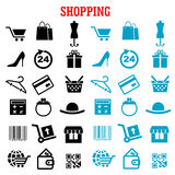 Shopping and commerce flat icons set. Shopping and commerce flat icons with black and blue shopping carts, basket and bags, bank credit card, wallets, money Stock Image