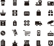 Shopping and commerce icon set. Set of black and white glyph flat icons relating to shopping and commerce stock illustration