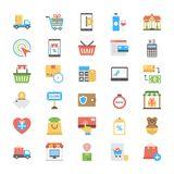 Shopping and Commerce Icons in Flat Design. These flat  icons of shopping cart, house, delete symbol, padlocks in different positions, dollar bills, credit cards Stock Images