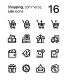 Shopping, commerce, sale icons for web and mobile design pack 1. 16 line black and white vector icons vector illustration