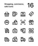 Shopping, commerce, sale icons for web and mobile design pack 2. 16 line black and white vector icons royalty free illustration