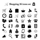 Shopping and commerce simple icons set. Shopping and commerce 36 simple icons set Royalty Free Stock Image