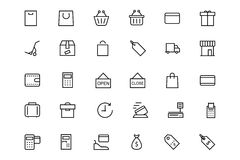 Shopping and commerce Vector Line Icons 1 Stock Images