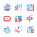 Shopping and Commerce. Vector set of flat shopping and commerce icons. Icon pack includes following themes - delivery, ecommerce, QR code, discount, holidays royalty free illustration