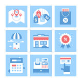 Shopping and Commerce. Vector set of flat shopping and commerce icons. Icon pack includes following themes - location, sale, retail, delivery, market, discount Royalty Free Stock Photos
