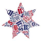 Shopping Composition of Mosaic Eight Corner Star Icon stock illustration