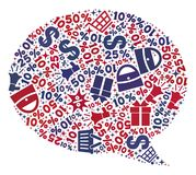 Shopping Composition of Mosaic Message Cloud Icon stock illustration