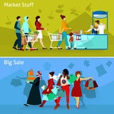 Shopping Compositions Set. Shopping And People Flat Concept. Shopping Horizontal Compositions. Shopping Vector Illustration. Shopping People  Set. Shopping Royalty Free Stock Image