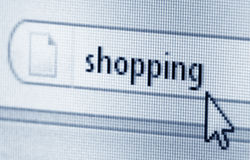 Shopping, computer screen Royalty Free Stock Photo