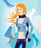 Shopping concept. Illustration of a pretty woman with shopping bits Stock Photo