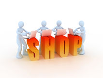 Shopping concept. A 3d concept of shopping activity Royalty Free Stock Photo