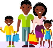 Shopping concept with african american family buyer. Royalty Free Stock Images