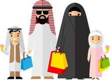 Shopping concept with arab people in colorful style. Royalty Free Stock Photos