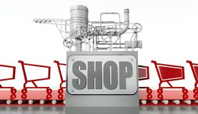Shopping concept, carts and machine Stock Photo