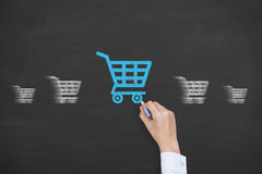 Shopping Concept on Chalkboard. On working business conceptual Concept Royalty Free Stock Photo