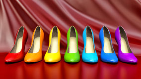 Shopping concept. Choice of colored high heels shoes Royalty Free Stock Images
