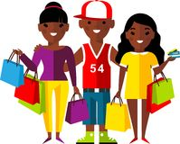 Shopping concept with couple african american people purchaser. Stock Photos