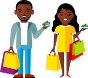 Shopping concept with couple african american people purchaser. Royalty Free Stock Photography
