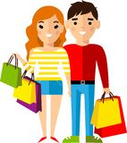 Shopping concept with couple european people purchaser. Stock Photography