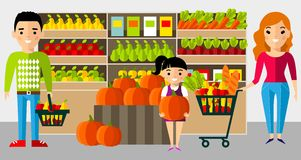 Shopping concept with european family buyer in the store. Royalty Free Stock Photography
