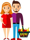 Shopping concept with european family pregnant parents. stock illustration