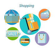 Shopping Concept Flat Design Style. Shopping bag, shopping mall, store and shopping cart, shopping icon and sale, fashion business, money finance, marketing Royalty Free Stock Image