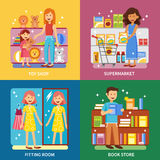 Shopping Concept 4 Icons Banner Square Royalty Free Stock Photos