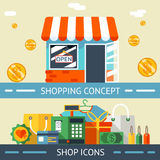 Shopping Concept and Icons Designs Royalty Free Stock Photos