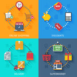 Shopping concept icons set Royalty Free Stock Photo