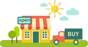Shopping concept. Landscape with shop and  delivery car Royalty Free Stock Photos