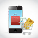 Shopping concept and phone illustration design Stock Photos