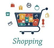 Shopping concept puzzles with a cart and icons Royalty Free Stock Images