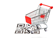 Shopping concept with QR code and cart Stock Image