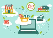 Shopping concept. Concept of retail process with shop, computer and shopping icons Stock Images