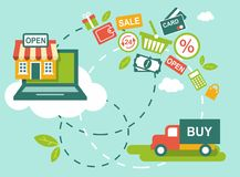 Shopping concept. Concept of retail process with shop, computer and shopping icons Stock Image